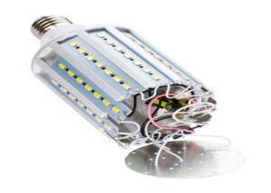 disassembled LED bulb corn lamp isolated on white background